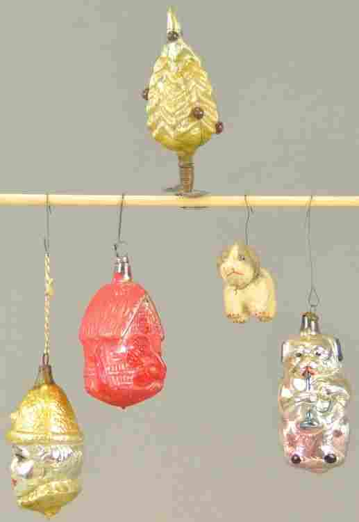 FIVE EARLY CHRISTMAS TREE ORNAMENTS