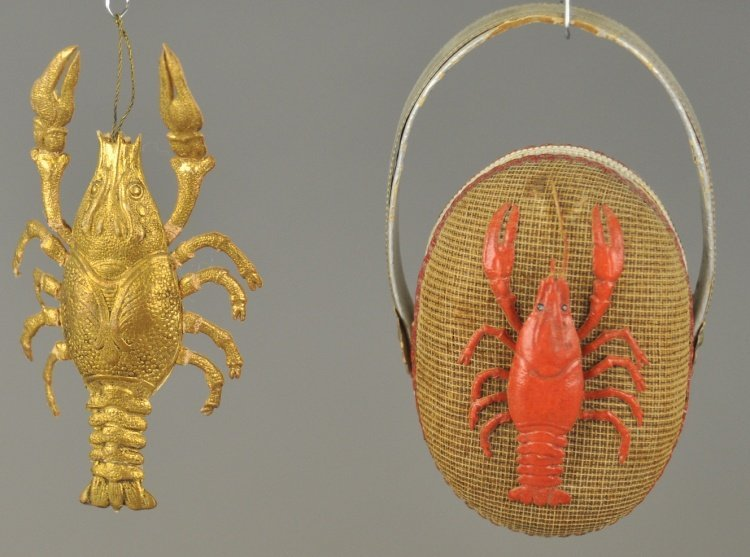 * A GOLDEN LOBSTER AND RED LOBSTER PURSE