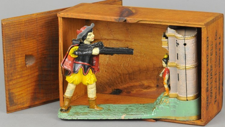 WILLIAM TELL MECHANICAL BANK WITH BOX