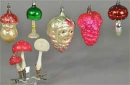 SEVEN GLASS CHRISTMAS TREE ORNAMENTS
