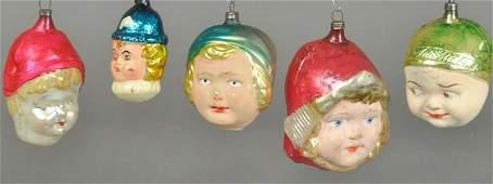 FIVE GIRL HEAD CHRISTMAS TREE ORNAMENTS