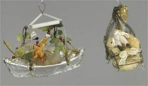 CHERUB IN BOAT AND BABY IN CRADLE ORNAMENTS