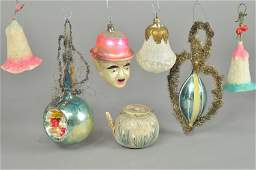 GROUP OF SIX VICTORIAN & CHARLIE CHAPLIN ORNAMENTS