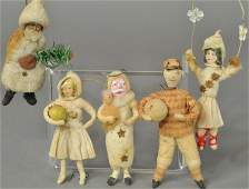 FIVE EARLY COTTON HOLIDAY ORNAMENTS