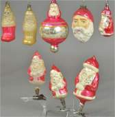 LARGE GROUPING OF SANTA GLASS ORNAMENTS