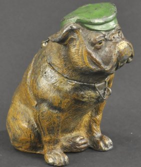 Seated Bulldog With Hat Spelter Bank