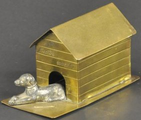 Dog Laying By Doghouse Still Bank