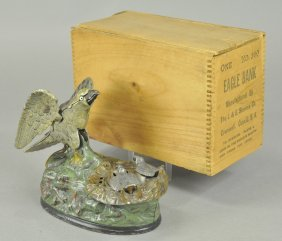 Boxed Eagle & Eaglets Mechanical Bank