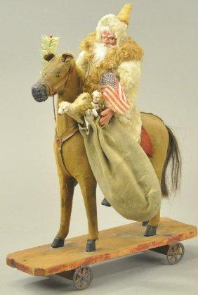 Santa On Platform Horse Toy