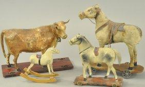 Three Platform Horses & Cow