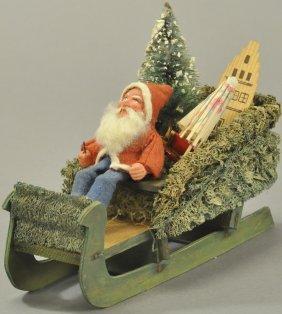 Santa On German Loofah Sleigh