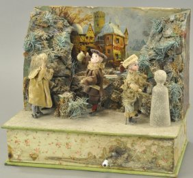 Erzgebirge Snowy Mountain Scene Diorama Automaton