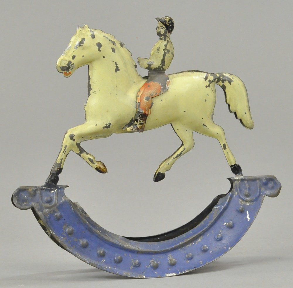 HORSE AND JOCKEY ON ROCKER BASE