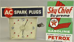 SKY CHIEF SIGN AND A C SPARK PLUGS CLOCK
