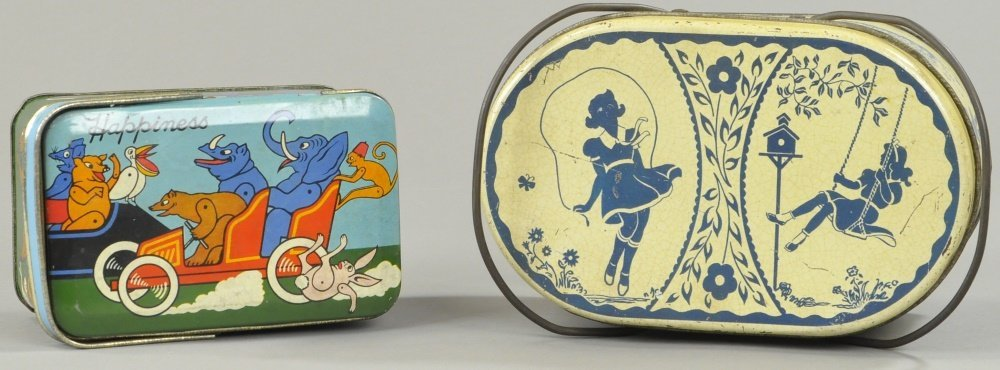 TWO EARLY TIN LITHO CANS