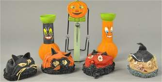 INTERESTING GROUPING OF FIVE HALLOWEEN ITEMS