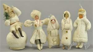 FIVE COTTON CHRISTMAS TREE ORNAMENTS