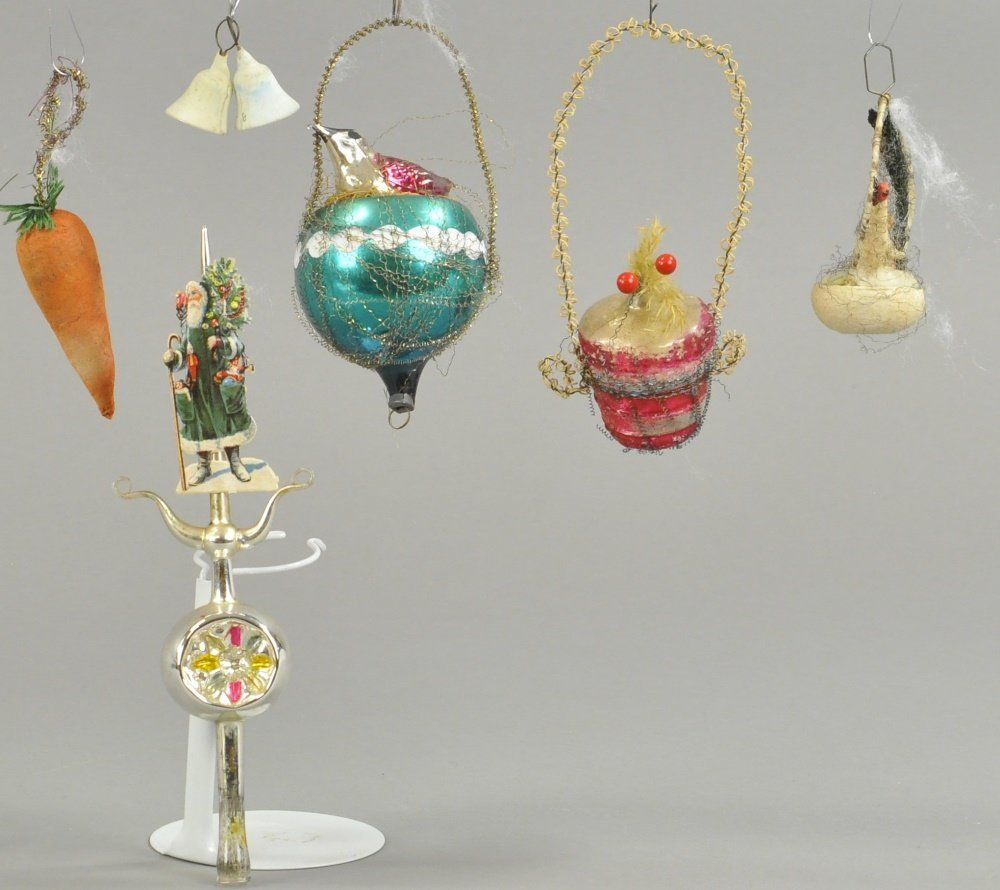 FIVE EARLY ORNAMENTS FOR CHRISTMAS TREES
