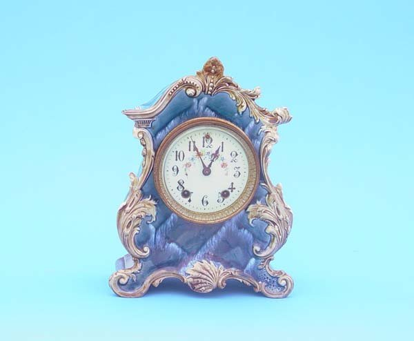 512: Gilbert Majolica Case China Clock