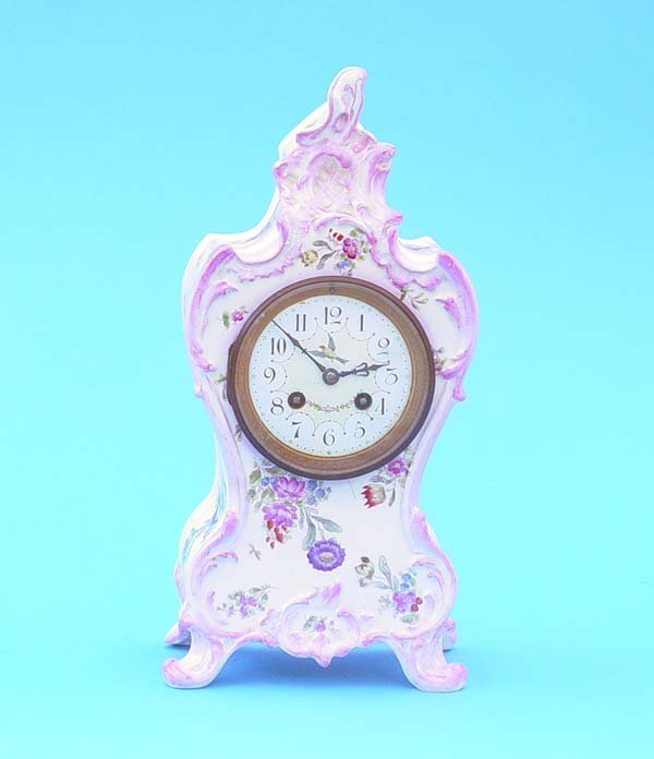 517: French Marti Hand painted China Mantel Clock