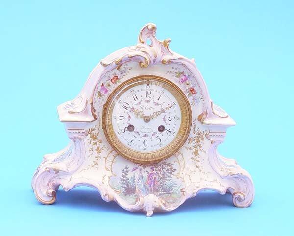 518: Handpainted Royal Bonn Porcelain Mantel Clock