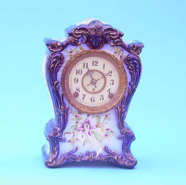 520: Kroeber Cobalt Blue Porcelain Mantel Clock