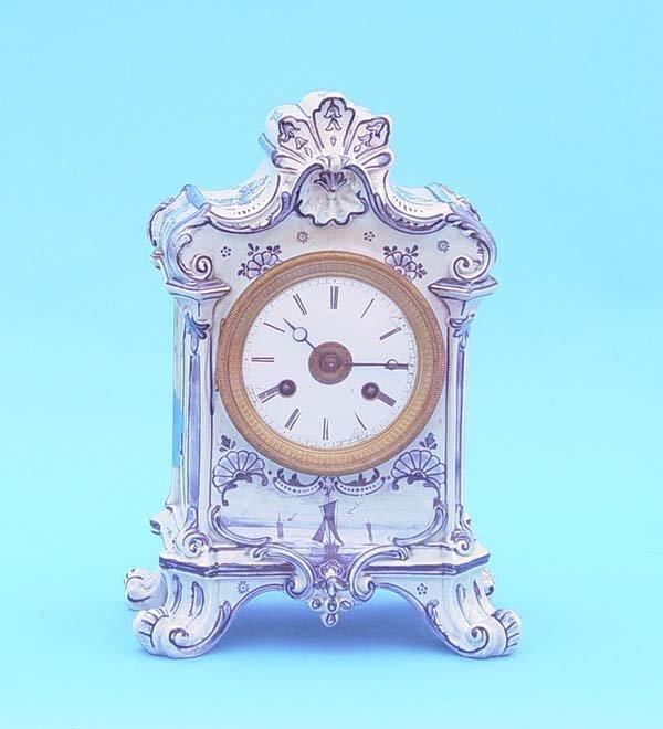 521: Blue & White Delft China Mantel Clock