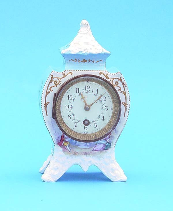 523: French Painted Porcelain Mantel Clock