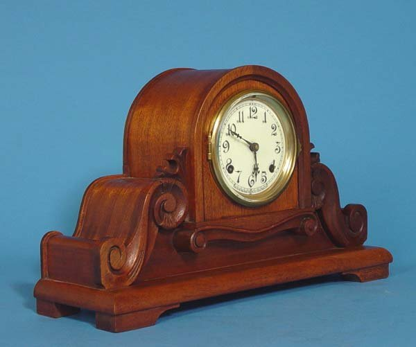 586: New Haven Carved Tambour Mantel Clock