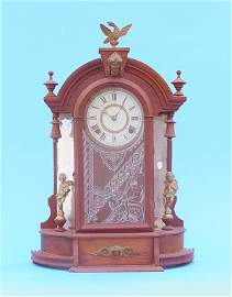 605: Gilbert Mirror Side Walnut Parlor Clock
