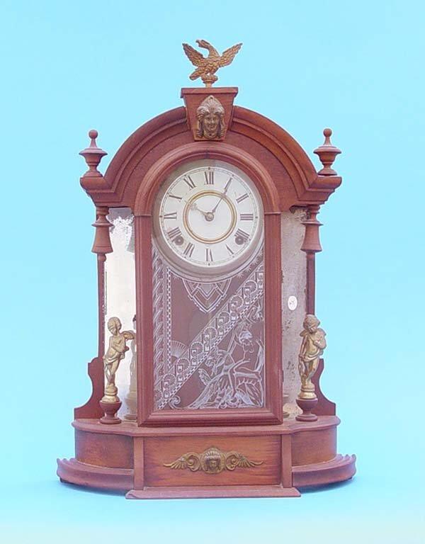 605: Gilbert Mirror Side Walnut Parlor Clock