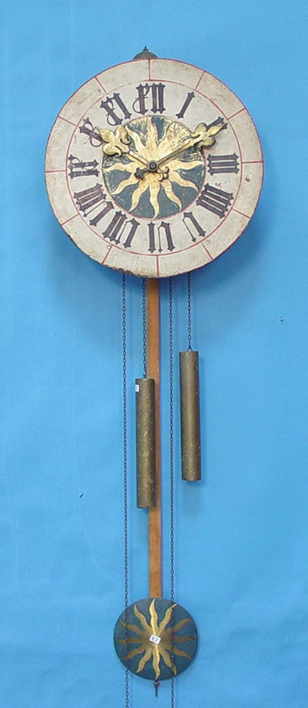 764: French Morbier Painted Wall Clock