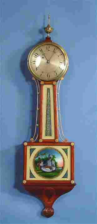Cross Banded American Banjo Wall Clock