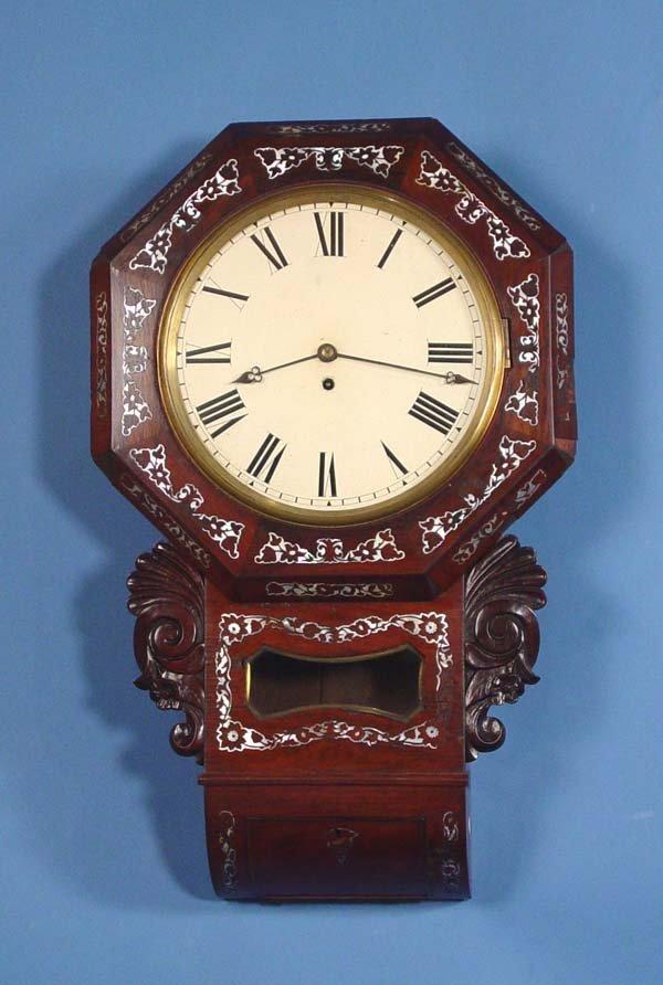 794: Ornate English Fusee Wall Clock