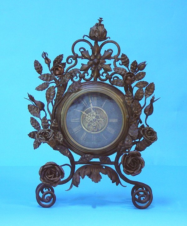 853: Floral Decorated Wrought Iron Mantel Clock