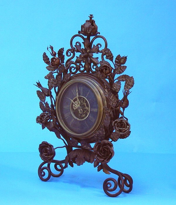 853: Floral Decorated Wrought Iron Mantel Clock - 2