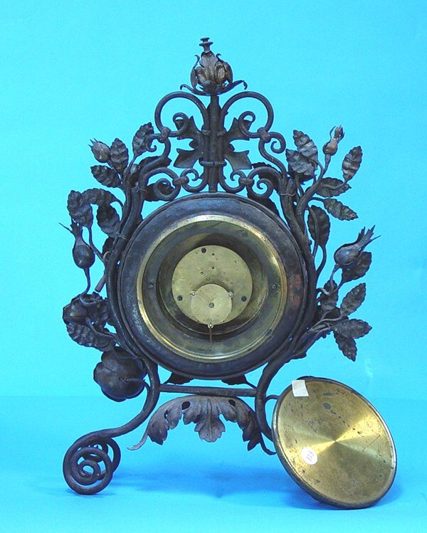 853: Floral Decorated Wrought Iron Mantel Clock - 3