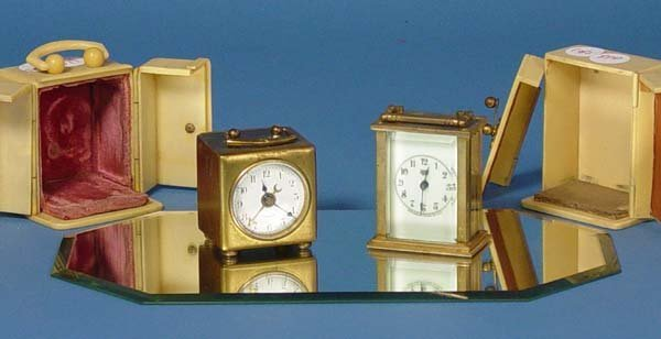 879: Two Small Carriage Clocks With Celluloid Case - 2