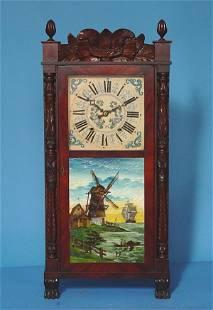Carved Mahogany Woodworks Shelf Clock