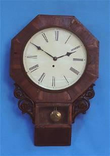 Mahogany Waterbury Schoolhouse Wall Clock