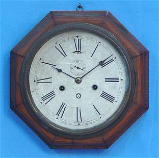 New Haven Oak Wood Hexagon Marine Clock