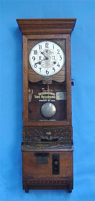 Large Oak Punch Time Wall Clock