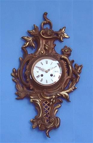 French Brass Cartel Wall Clock