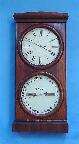 Large Seth Thomas Double Dial Calendar Clock