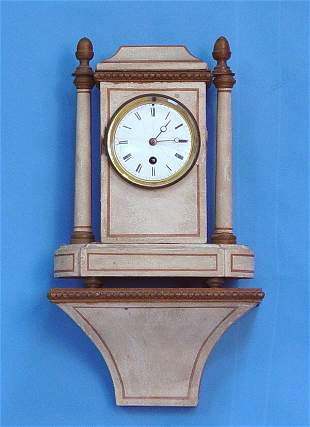 Painted Toll Ware Clock With Matching Shelf