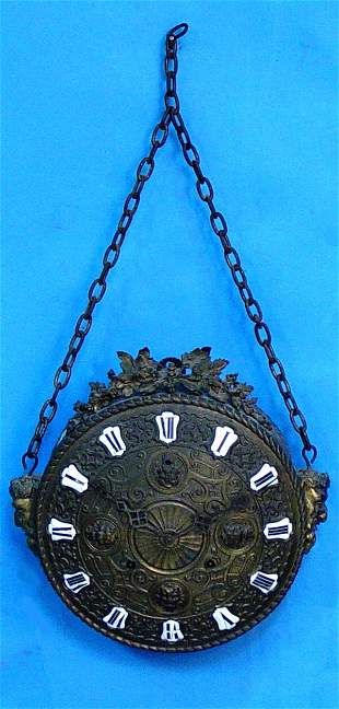 New Haven Hammered Brass Wall Clock