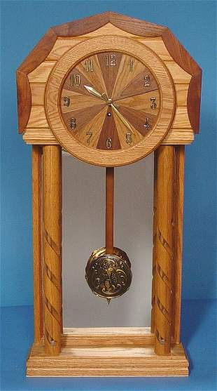 Large Oak & Walnut Custom Shelf Clock