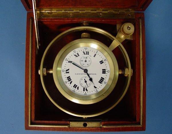 1494: Rare Elgin Chronometer In Gimbaled Box