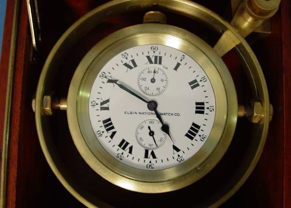 1494: Rare Elgin Chronometer In Gimbaled Box - 2
