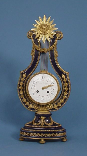 1588: Blue Lyre Rhinestone Pendulum Mystery Clock